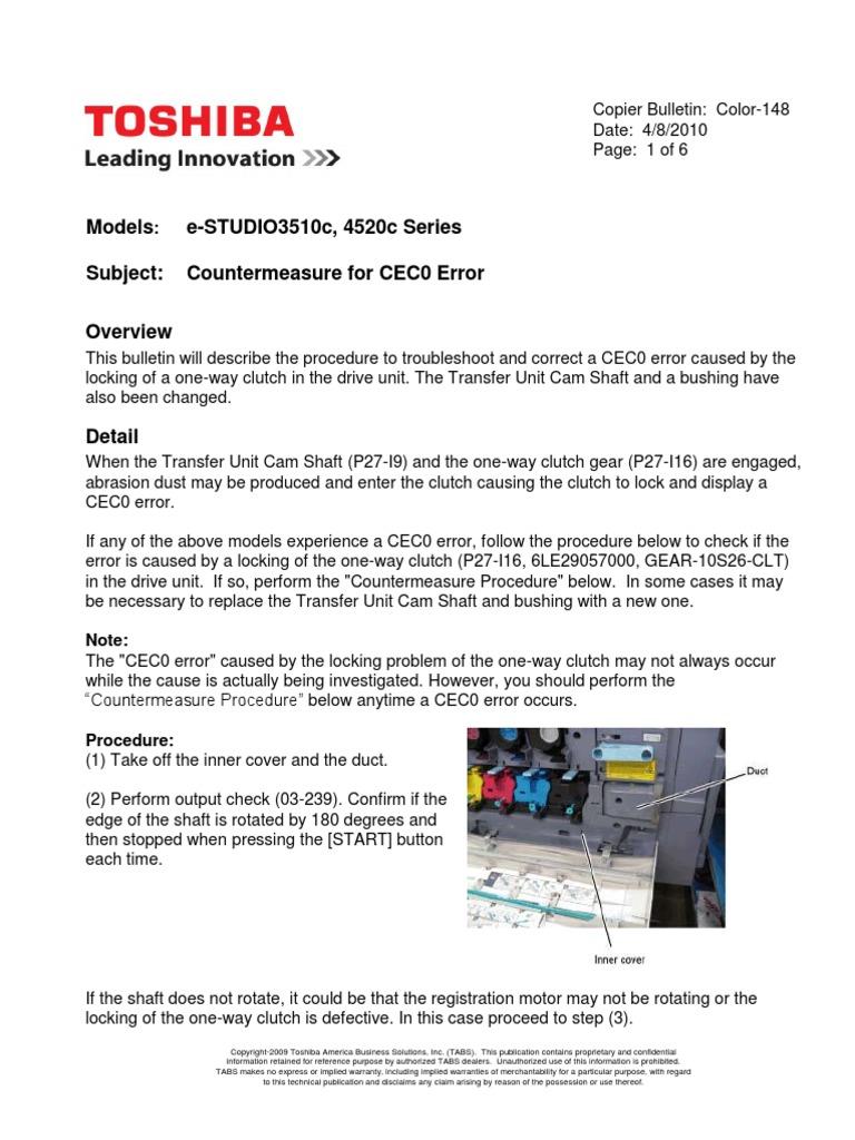 Error Cec0 Fotocopiadora Toshiba | Clutch | Gear