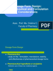 Dosage Form Design Pharmaceutical and Formulation Considerations