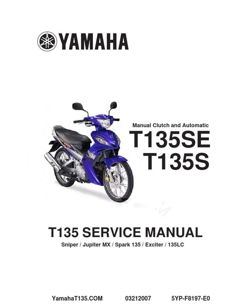 yamaha t135 service manual complete clutch screw rh scribd com Yamaha Sniper King Yamaha Aerox