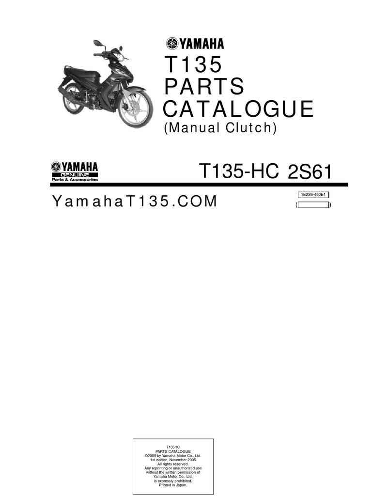 Yamaha T135 HC (Manual) Parts Catalogue   Screw   Clutch