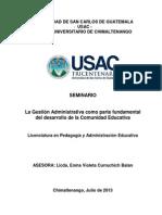 La Gestión Administrativa como parte fundamental del desarrollo de la Comunidad Educativa