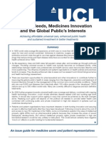 Patients' Needs, Medicines Innovation and the Global Public's Interests