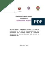 Norica Amparo Gomez, Relacion Entre La Competencia Lectora y El Logro de Aprendizaje (Publicado e