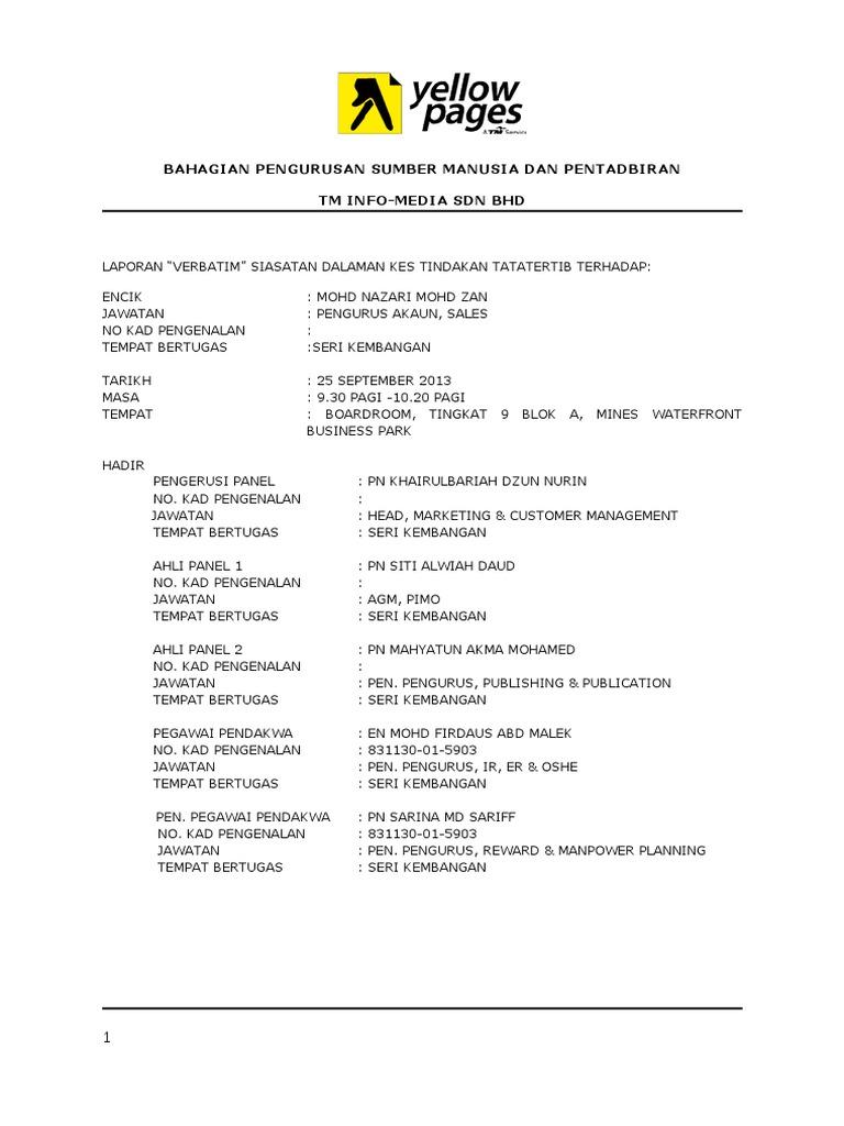 Bervatim Report Mohd Nazari 2