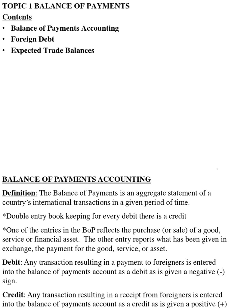 topic 1 balance of payments | current account | capital account