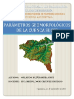 PARÁMETROS GEOMORFOLÓGICOS DE LA CUENCA SUCSE