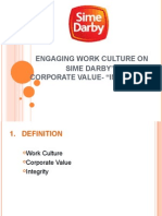 "ENGAGING WORK CULTURE ON  SIME DARBY'SCORPORATE VALUE- ""INTEGRITY"""
