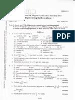 vtu 1st sem maths question paper
