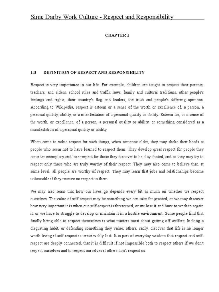 Sime Darbyu0027s Work Culture  Respect And Responsibility | Self Esteem |  Corporate Social Responsibility
