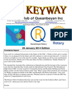 The Keyway - 29 January 2014 edition - Weekly newsletter for the Rotary Club of Queanbeyan