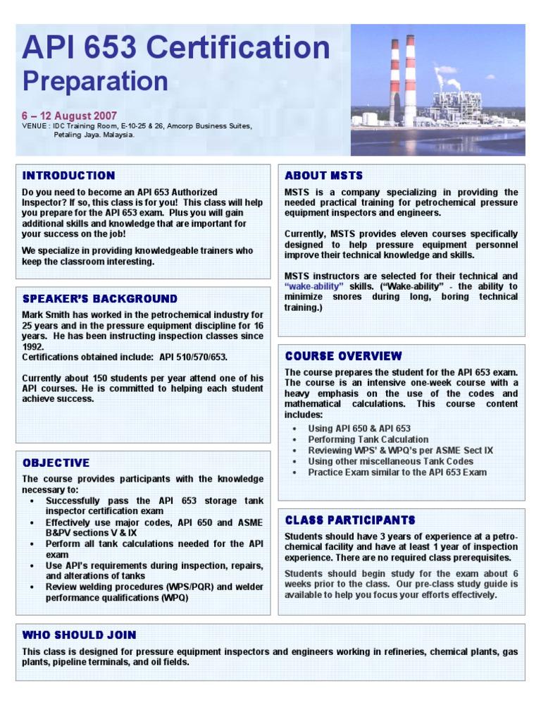 Api 653 Brochure Test Assessment Welding