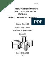 Bomb Calorimeter Report