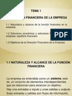 TEMA 1. LA DIRECCIÓN FINANCIERA DE LA EMPRESA