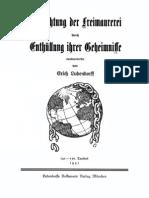 Erich Ludendorff Vernichtung Der Freimaurerei Durch Enthuellung Ihrer Geheimnisse