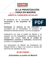 Cartel Privatizacion Madrid