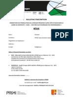 Bulletin d'inscription formation PRIMI - Régie