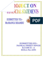 Project on Financial Statements