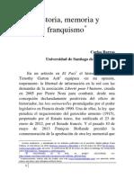 Historia Memoria y Franquismo