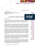 Letter to John Ashe, president of the UN General Assembly