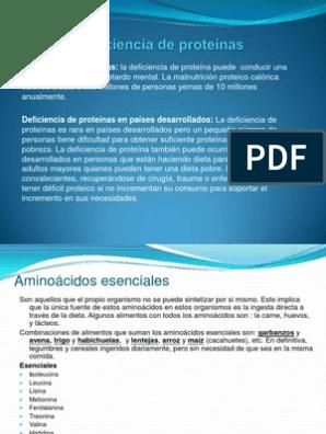 Dieta deficiencia de proteinas