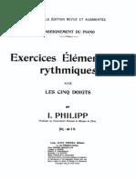 Philipp, Isidor - Exercices Élémentaires Rythmiques pour les Cinq Doits
