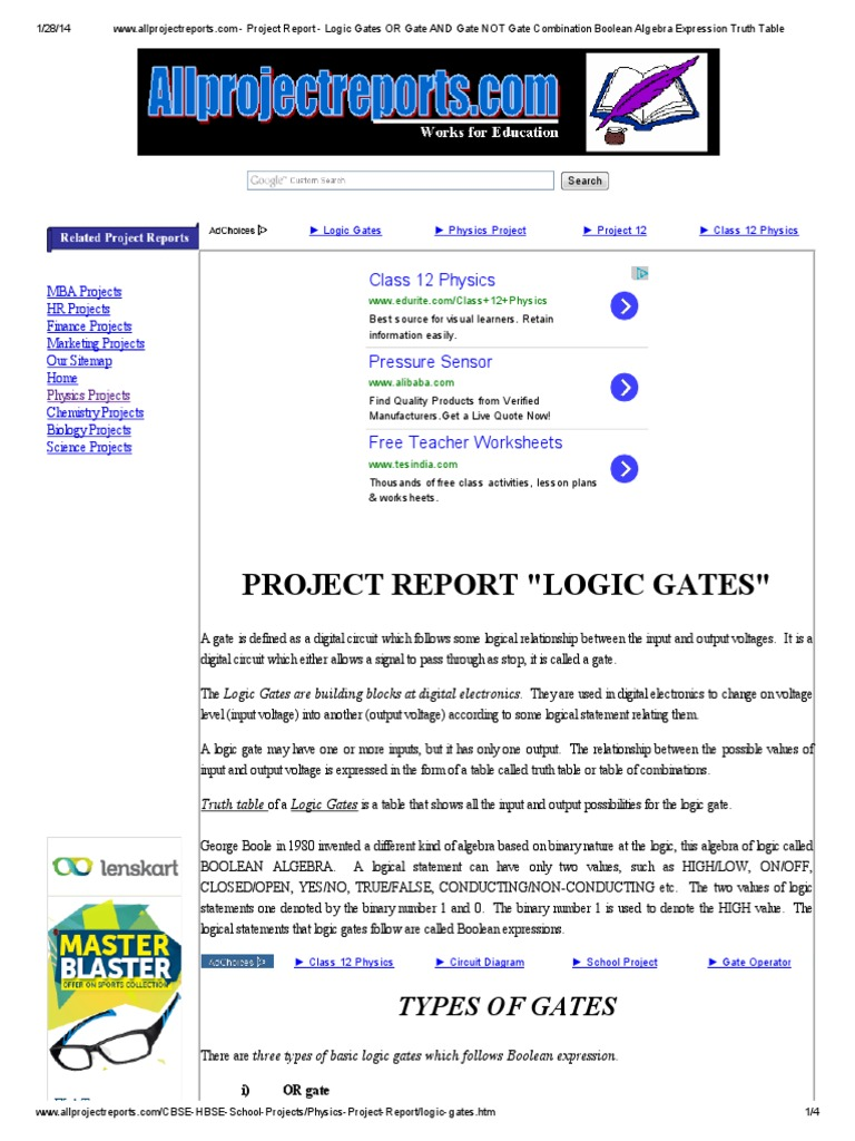 Project On Logic Gates Boolean Algebra Gate Electric Wiring Diagram