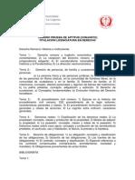 Temario de La Prueba de Aptitud Licenciatura en Derecho
