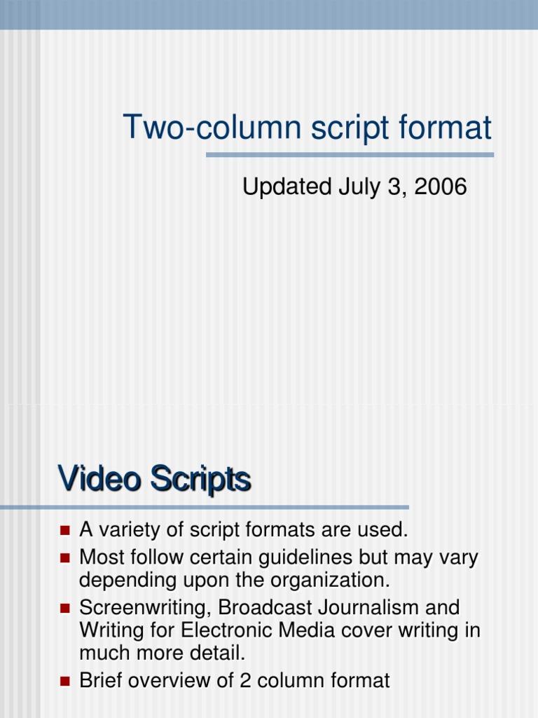 Two Column Script Format