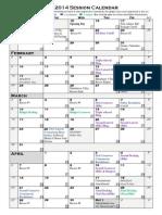 legislative calendar 2014