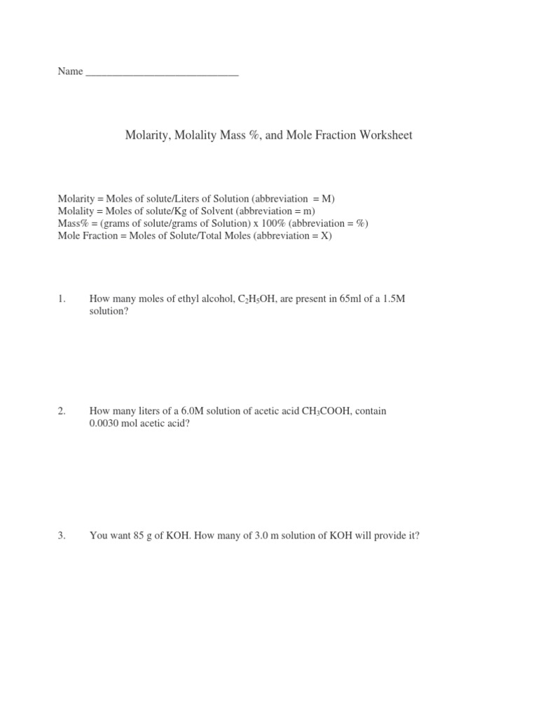 worksheet Molarity Molality Worksheet molarity worksheet