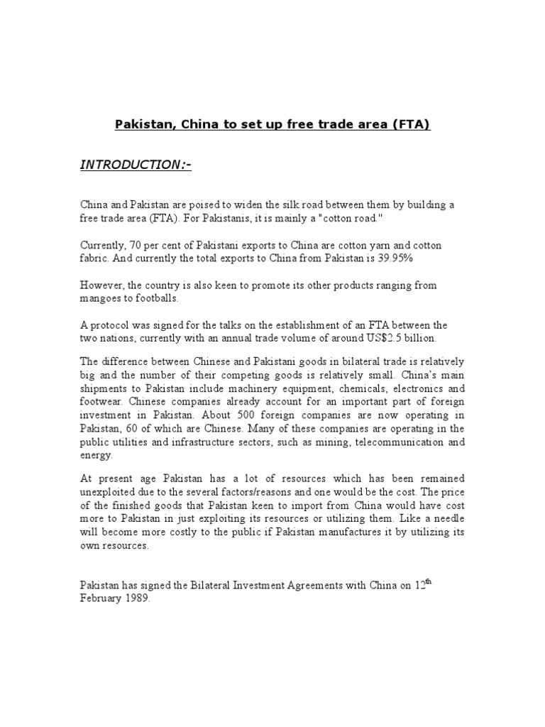 Pakistan China To Set Up Free Trade Area Fta Exports Pakistan
