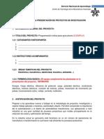 FORMATO PARA LA PRESENTACIÓN DE PROYECTOS DE INVESTIGACIÓN