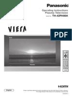 Panasonic Plasma TH-42PA60AC Operating Instructions