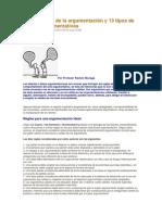 Las 10 reglas de la argumentación y 13 tipos de falacias argumentativas