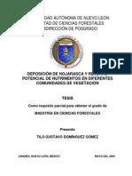 DEPOSICIÓN DE HOJARASCA Y RETORNO POTENCIAL DE NUTRIMENTOS EN DIFERENTES COMUNIDADES DE VEGETACIÓN
