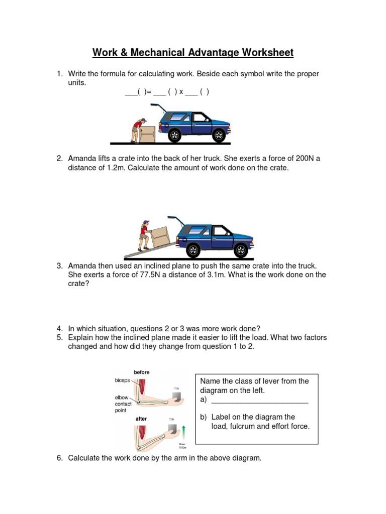 Mechanical Advantage Of Simple Machines Worksheet Delibertad – Mechanical Advantage Worksheet