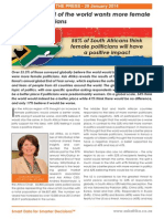 55% of South Africans think female politicians will have a positive impact