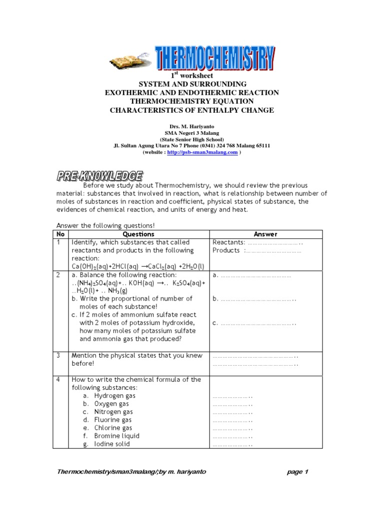 Worksheet Thermochemistry | Chemical Reactions | Calorimetry