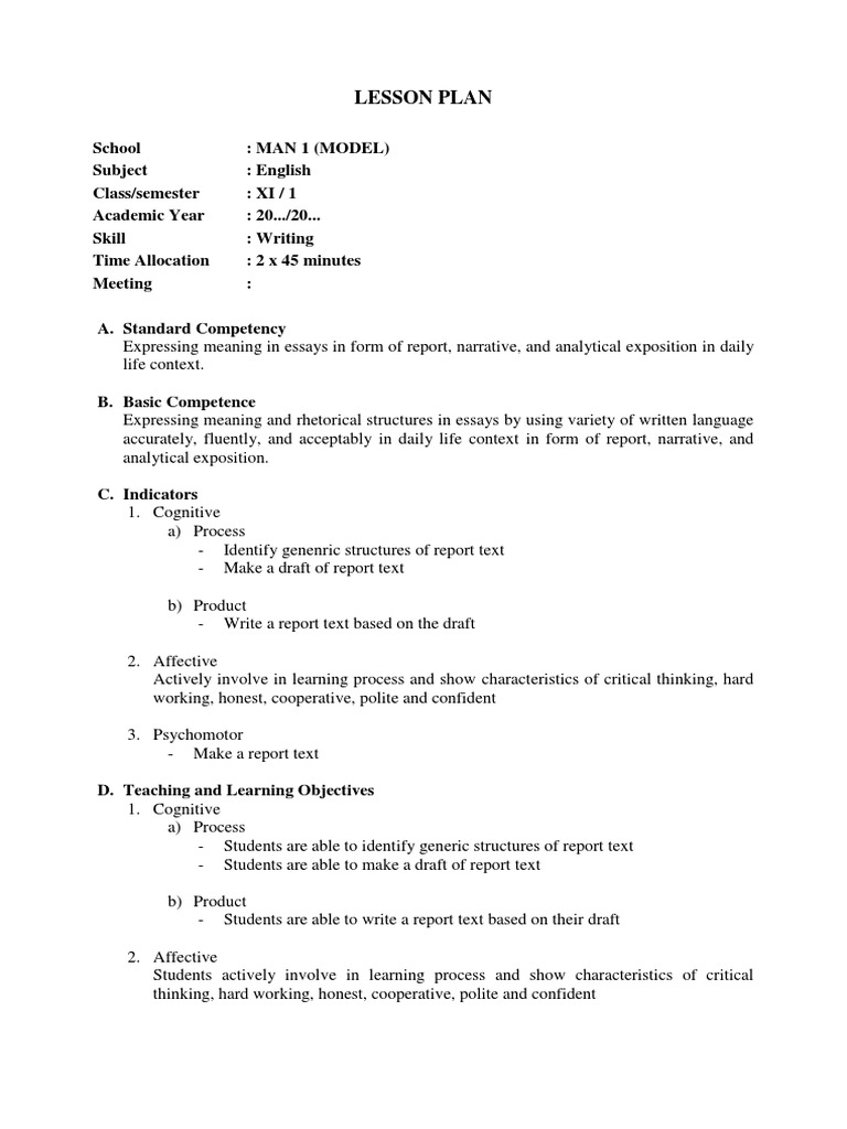 lesson plan writing report text