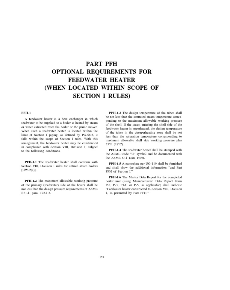 Part Pfh Optional Requirements for Feedwater Heater (When Located Within