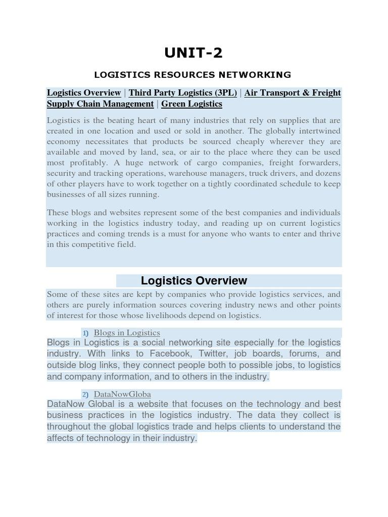 Unit 2 Logist | Logistics | Information