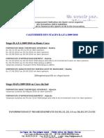 calendrier BAFA 2009