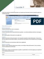 Microsoft Word Lección 9