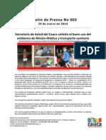 Boletín 003_ Secretaría de Salud del Cauca solicita el buen uso del emblema de Misión Médica y transporte sanitario