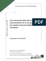 21308 Les Manuscrits Palis Dans Leur Environnement Et Le Cas Particulier de Leur Gestion Dans Les Bibliotheques Francaises