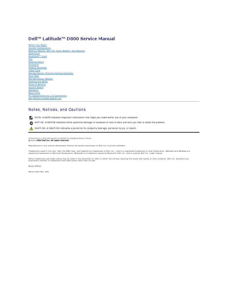 Latitude-d800 Service Manual en-us | Electrical Connector | Bios