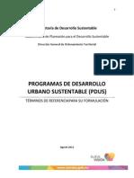 Términos de Referencia de Programas de Desarrollo Urbano Sustentable. Secretaría de Desarrollo Sustentable Morelos