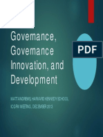 Governance, Governance Innovation, And Development Matt Andrews