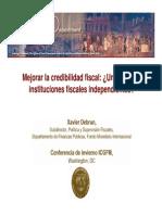 Mejorar La Credibilidad Fiscal Un Rol de Las Instituciones Fiscales Independientes Xavier Debrun
