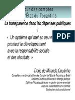 La transparence dans les dépenses publiques Doris Coutinho